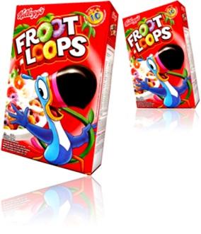 caixa de cereal froot loops sabor frutas, café da manhã, lanche, alimento
