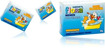 sabonete hidratante flora nenen para crianças, com glicerina