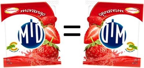 refresco em pó mid morango, ajinomoto, anagrama mid=dim, fruta