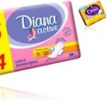 pacotes de absorventes higiênicos femininos diana active, menstruação