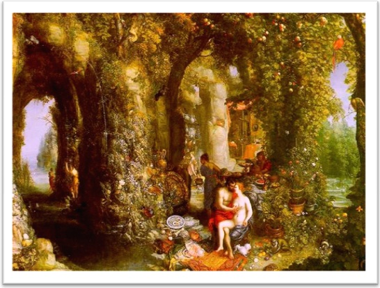 a fantastic cave with odysseus and calypso,  by jan brueghel, in johnny van haeften gallery, london, UK