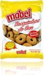 pacote plástico de rosquinhas de coco e biscoitos marca mabel