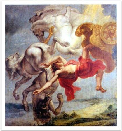 morte, queda de faetonte, mitologia grega, apolo, carruagem do sol