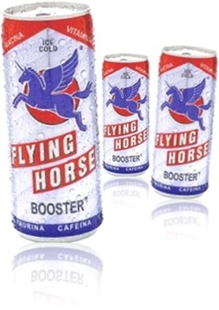 bebida energética flying horse booster com taurina e cafeína, energy drink