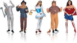 fantasias de carnaval mágico de oz homem de lata, espantalho, dorothy, leão covarde e mulher maravilha