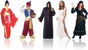 fantasias de carnaval de gueixa, gênio, gótica, grego e cigana