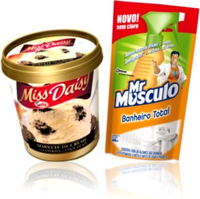 sorvete de creme missy daisy sadia, limpador de banheiro mr. músculo