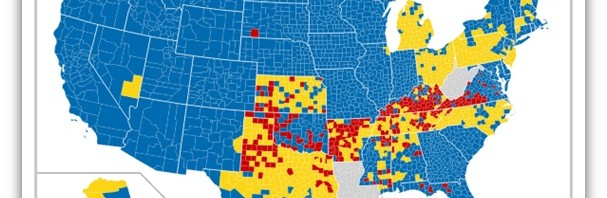 Map Showing Dry Red Wet Blue And Mixed Yellow Counties In The United States 607x198 Jpg