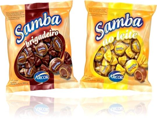 bombom arcor samba sabores brigadeiro e ao leite, chocolate, doces