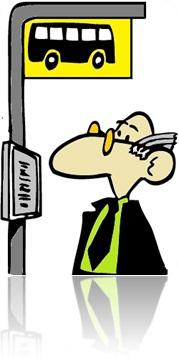 homem no ponto de ônibus placa de trânsito informação terno gravata óculos cabelos grisalhos