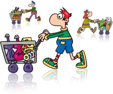 supermercado, carrinhos, fila, seção, alimentos, higiene, limpeza, corredor, biscoito, frutas