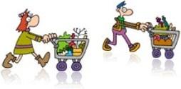 mulher homem corredor seção de supermercado alimentos limpeza primeiros socorros ferragens jardim