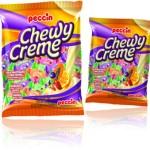 balas mastigáveis chewy creme peccin sabores morango, laranja, mamão e cássis