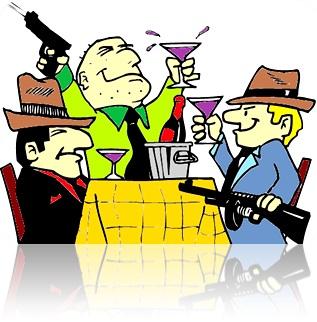 homem mafiosos máfia gangster bandidos bebem taças de vinho mesa restaurante