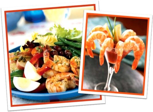 shrimp salad, shrimp cocktail, salada de camarão, coquetel de camarão