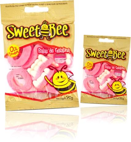 balas de gelatina sweet bee sabor morango, abelha doce