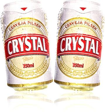 latas de cerveja pilsen crystal beer chope