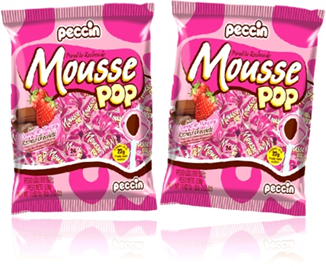 pirulito peccin mousse pop sabor morango recheio de chocolate