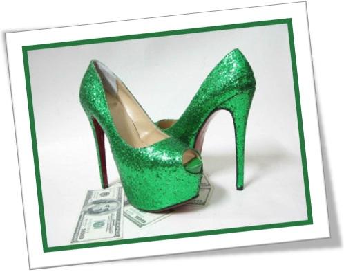 sapato alto verde brilhoso caro, sapatos femininos