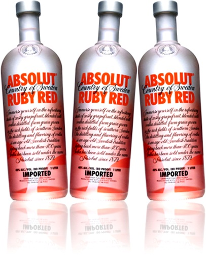 garrafas de vodka absolut ruby red para drinks