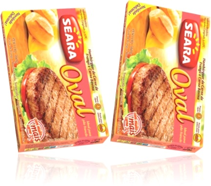 hambúrguer de carne de frango e carne bovina seara oval com pão, tomate, alface