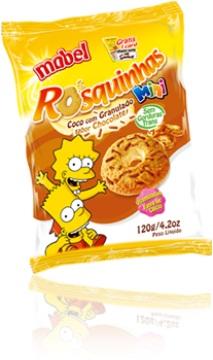 mini rosquinhas mabel sabor coco com granulado de chocolate com bart e lisa simpson