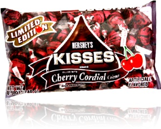 pacote de chocolate hersheys kisses com licor de cereja cherry cordial