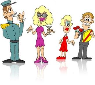 dia dos namorados homem e mulher bebendo em festa, homem dando presente e flores a mulher