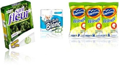 desodorizador sanitário sani fleur pinho, papel higiênico leblon soft blanc e luvas velouté limppano