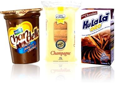 mousse chandelle nestlé, biscoito champagne e creme de chantilly chocolate hulalá