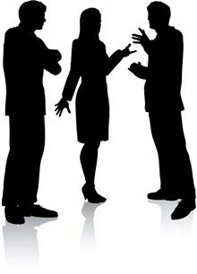 como melhorar a conversação em inglês, meeting point, conversation, ponto de encontro, english, silhuetas, homem, mulher