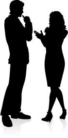 conversação, conversation, inglês, english, casal, homem, mulher, silhuetas, silhouettes