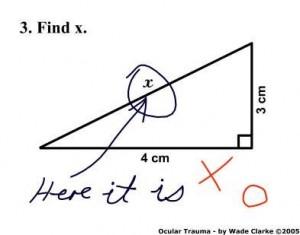 pérolas de estudantes, inglês, triângulo, catetos, hipotenusa, centimetro, funny answer