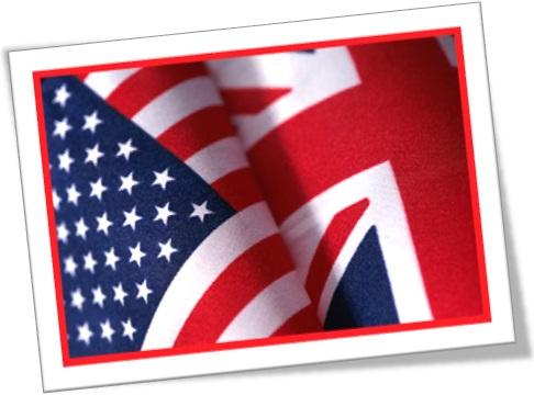 bandeiras dos estados unidos e do reino unido, dicas de inglês americano, inglês britânico