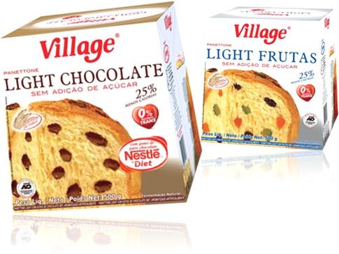 panetone, panettone village light chocolate e light frutas sem açúcar