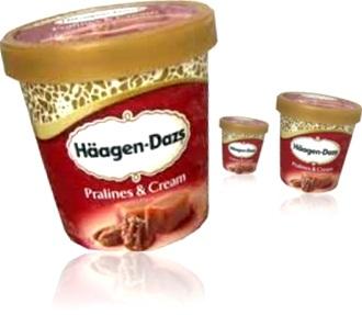 potes de sorvete haagen-dazs pralines and cream, sobremesa, pralinê