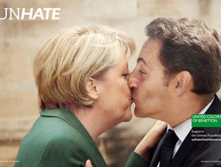 unhate, benetton, fotomontagem, beijo entre a chanceler alemã, angela merkel e o presidente francês, nicolas sarkozy