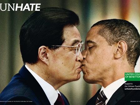 unhate, benetton, beijo entre o presidente da china, hu jintao e barack obama, dos EUA, fotomontagem