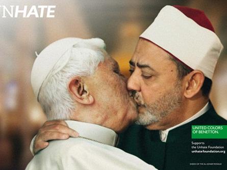 unhate, benetton, papa bento XVI beijando imã do cairo na boca em uma fotomontagem