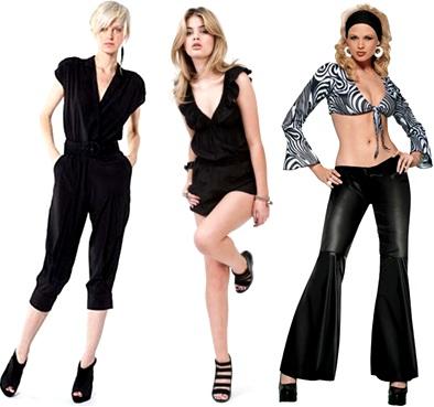 roupas femininas: macacão, jumpsuit, jardineira, playsuit, calça boca de sino, bell bottom pants