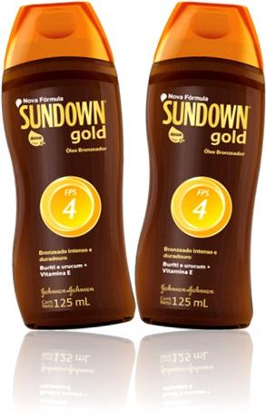 óleo bronzeador sundown gold, johnson, fator proteção solar, fps, verão, praias, raios uva uvb