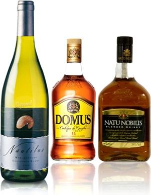 vinho nautilus, conhaque domus e whisky natu nobilis, bebidas alcoólicas, latim