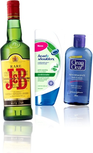 ampersand em  J&B scotch whisky, Justerini & Brooks, shampoo heads & shoulders, adstringente clean & clear