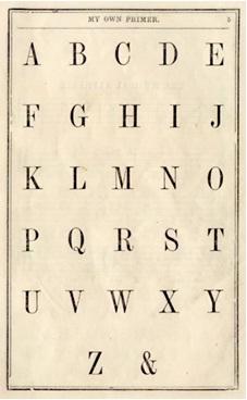 alfabeto inglês com ampersand no final, e comercial