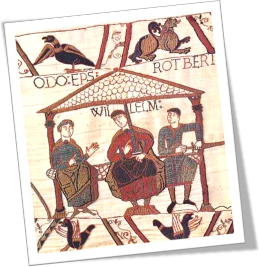 William the Conqueror, seated center, flanked by Odo, Archbishop of Canterbury, left, and Rotbert, right