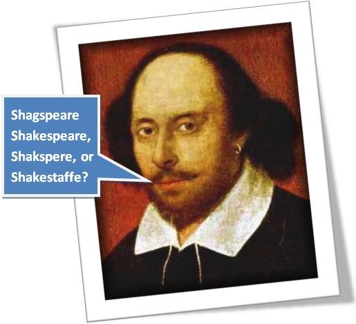 ortografia, inglês, os sobrenomes do escritor william shakespeare