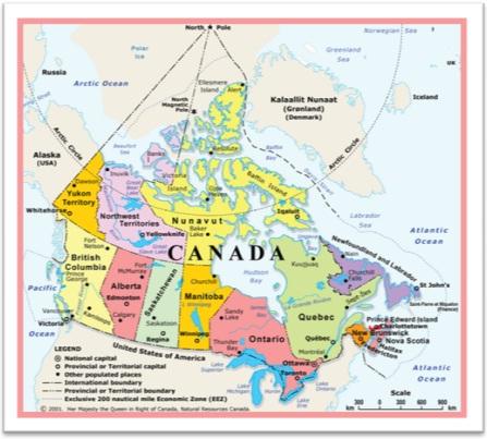 mapa do canadá, fronteiras, geografia, estados, cidades, moeda, bandeira