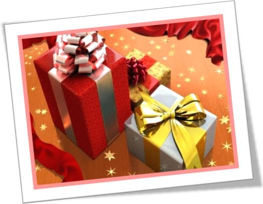 pacotes de presente com laços de fita
