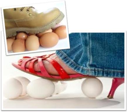 pisando em ovos, walking on eggshells, inglês, português