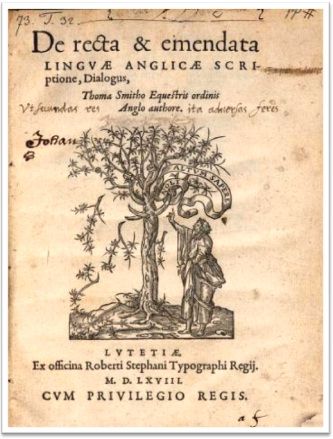 gramática do inglês, de recta et emendata linguae anglicae scriptione dialogus, sir thomas smith